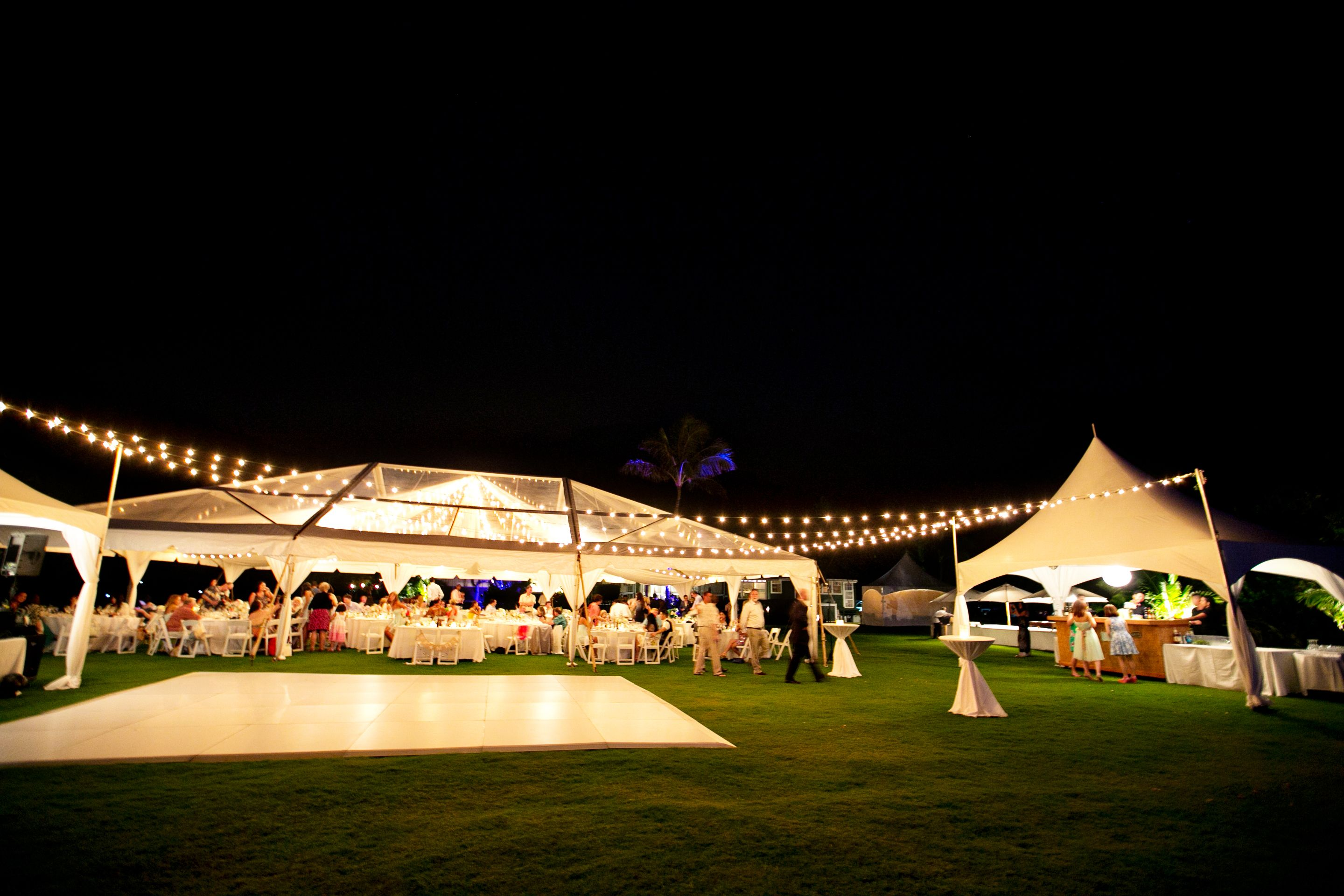 clear top main tent with bar tent and straight lines of cafe