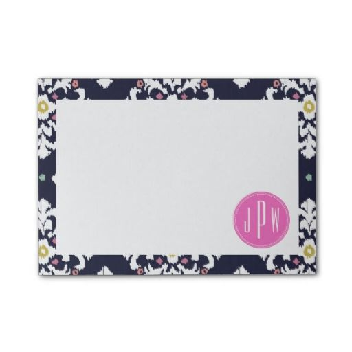 Ikat & Pink Monogram Post-it Notes by Jill's Paperie