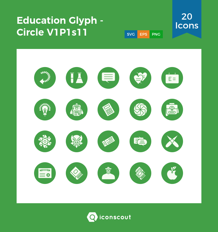 Education Glyph - Circle V1P1s11 Icon Pack - 20 Solid Icons