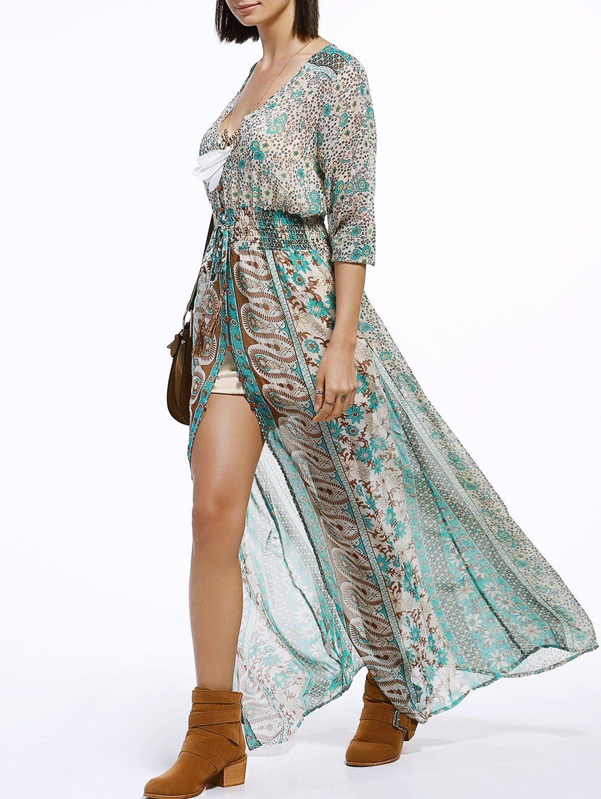 b0dcbe8eee $13.64 Bohemian V-Neck 3/4 Sleeve Tribal Print High Slit Maxi Dress For  Women