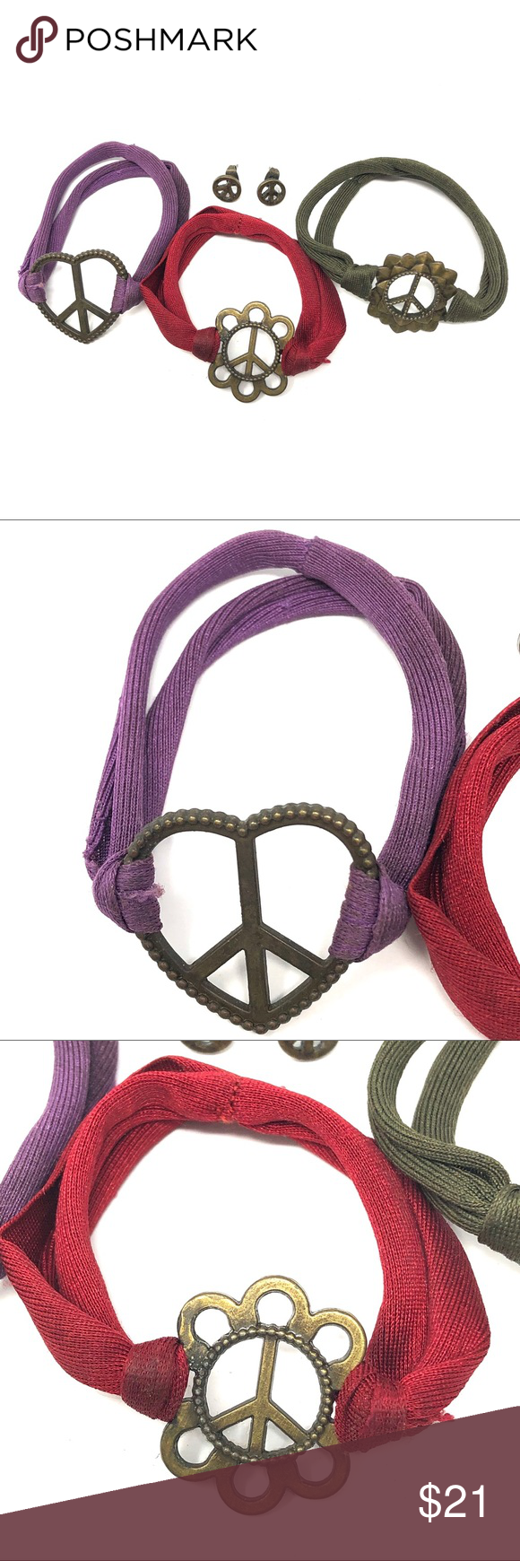 Download 4 Pc Peace Sign Stretchy Bracelets & Earring Set 4 Piece ...