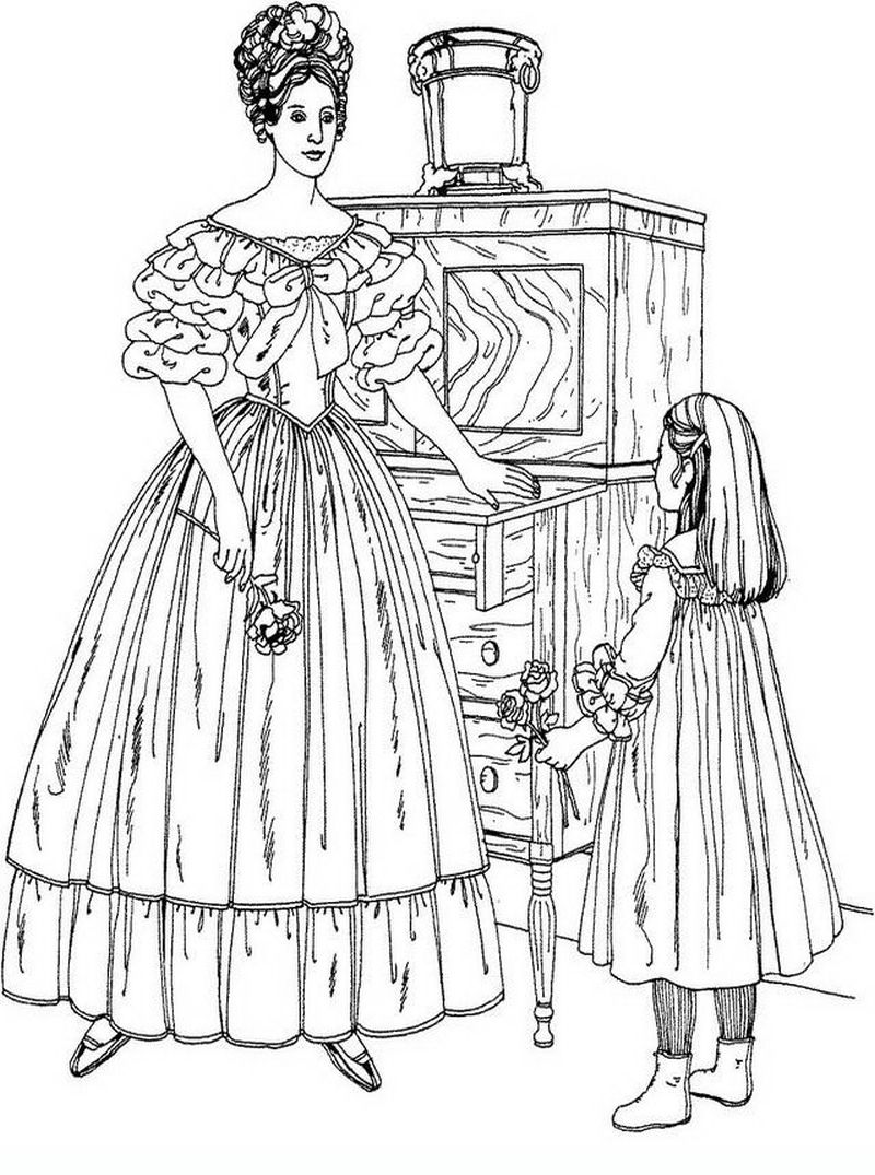 Beautiful Victorian woman detailed coloring pages hard | Fashion ...