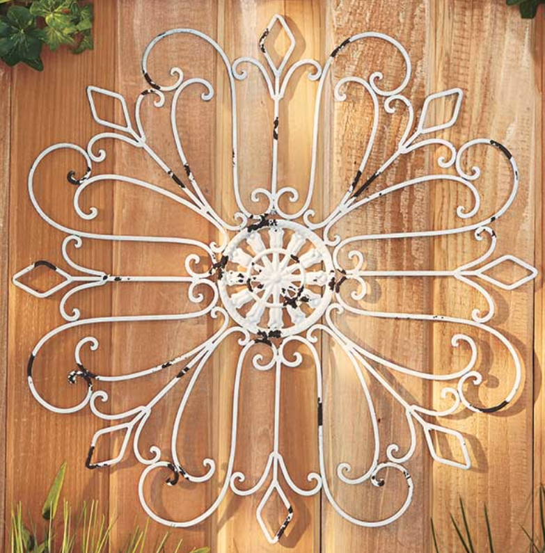 Indoor Outdoor Wall Decor Metal Scroll Living Sun Room Fence Distressed White Ebay Outdoor Wall Decor Wall Medallion Patio Wall Art