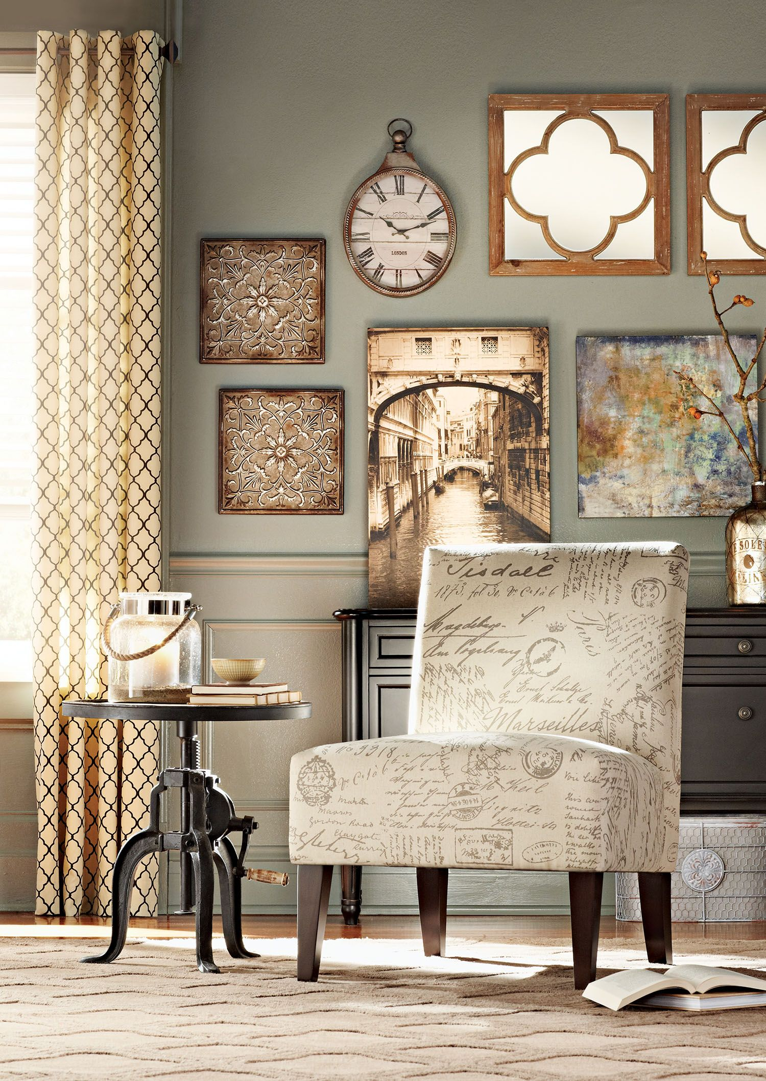 A subtle script pattern makes an accent chair that much - Accent chairs in living room ideas ...