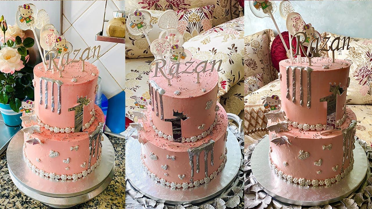 Drip Cake بدون عجينة سكر طورطة للأطفال من طبقتين للمناسبات بحشوات جديدة وعدة تقنيات في التزيين Youtube Drip Cakes Cake Diaper Cake