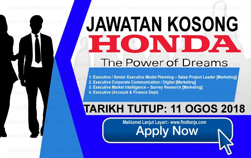 Jawatan Kosong Honda Malaysia (11 Ogos 2018) (With images