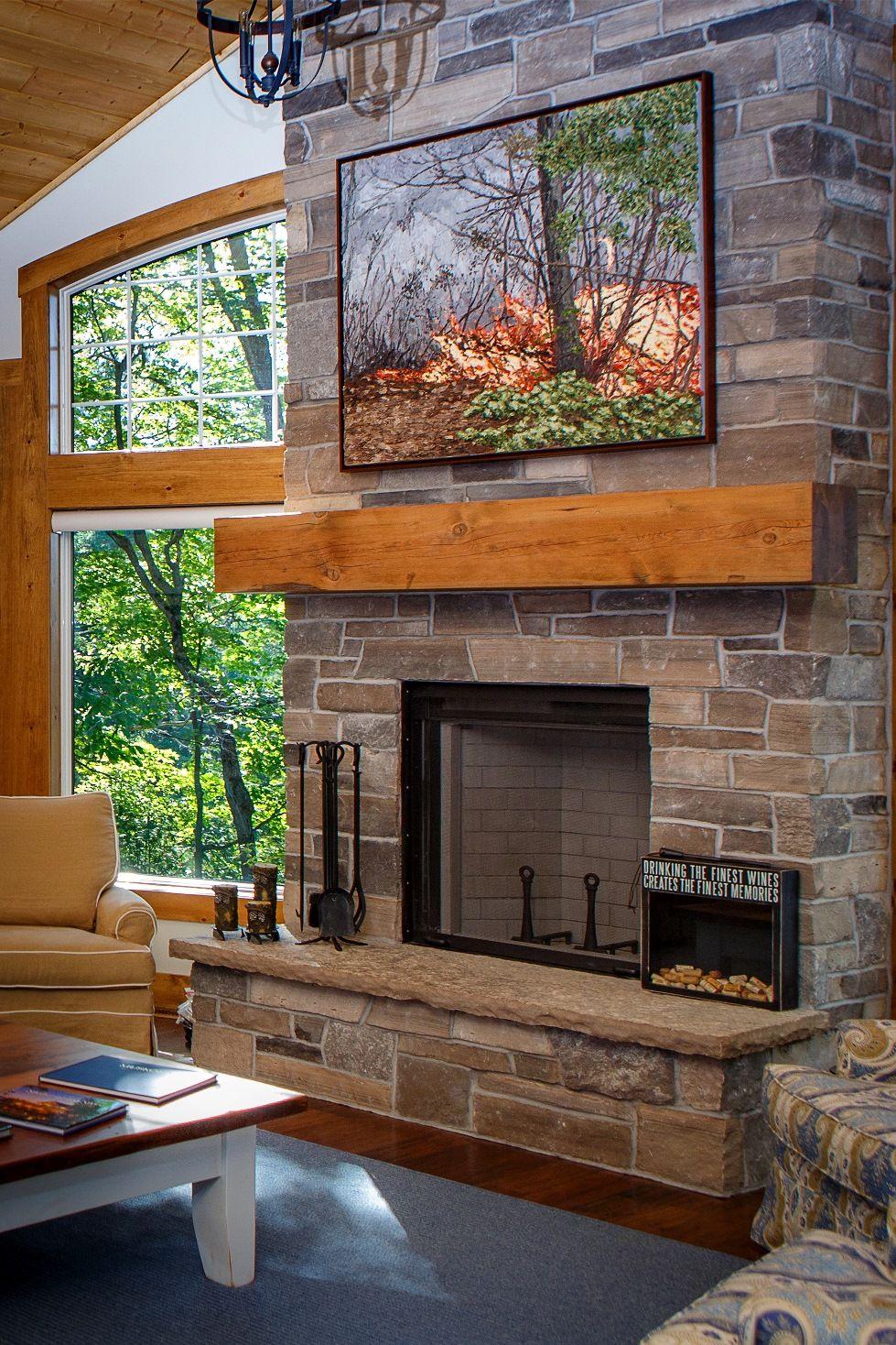 seguin cottage custom stone fireplace interior cottage living parry sound muskoka. Black Bedroom Furniture Sets. Home Design Ideas