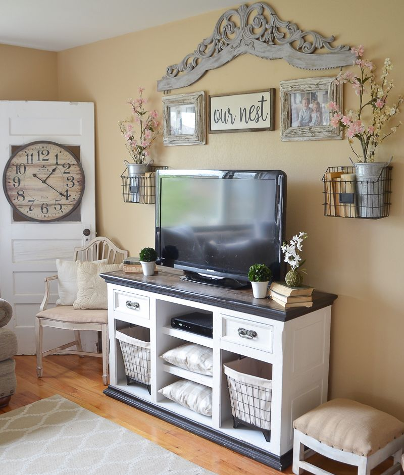 Easy Farmhouse Style TV Stand Makeover Room wall decor