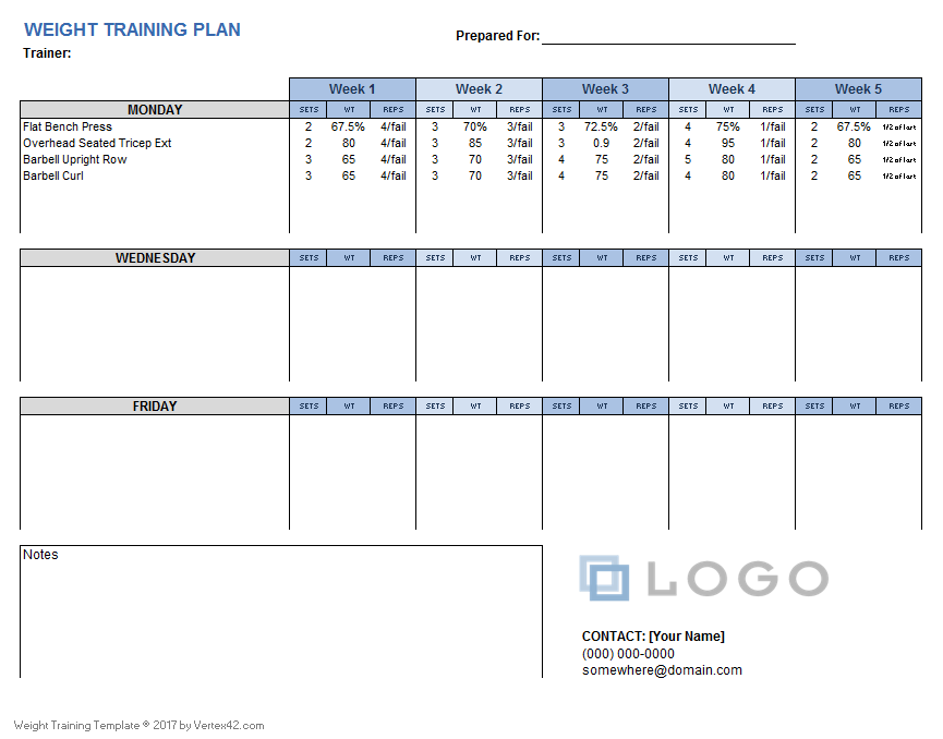 download a free weight training plan template that you can customize