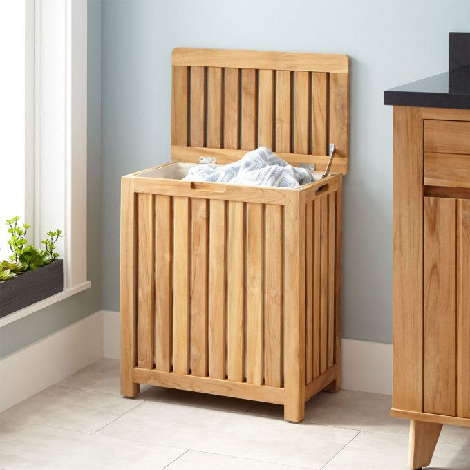 Cael Teak Laundry Hamper Open Wood Laundry Hamper Laundry