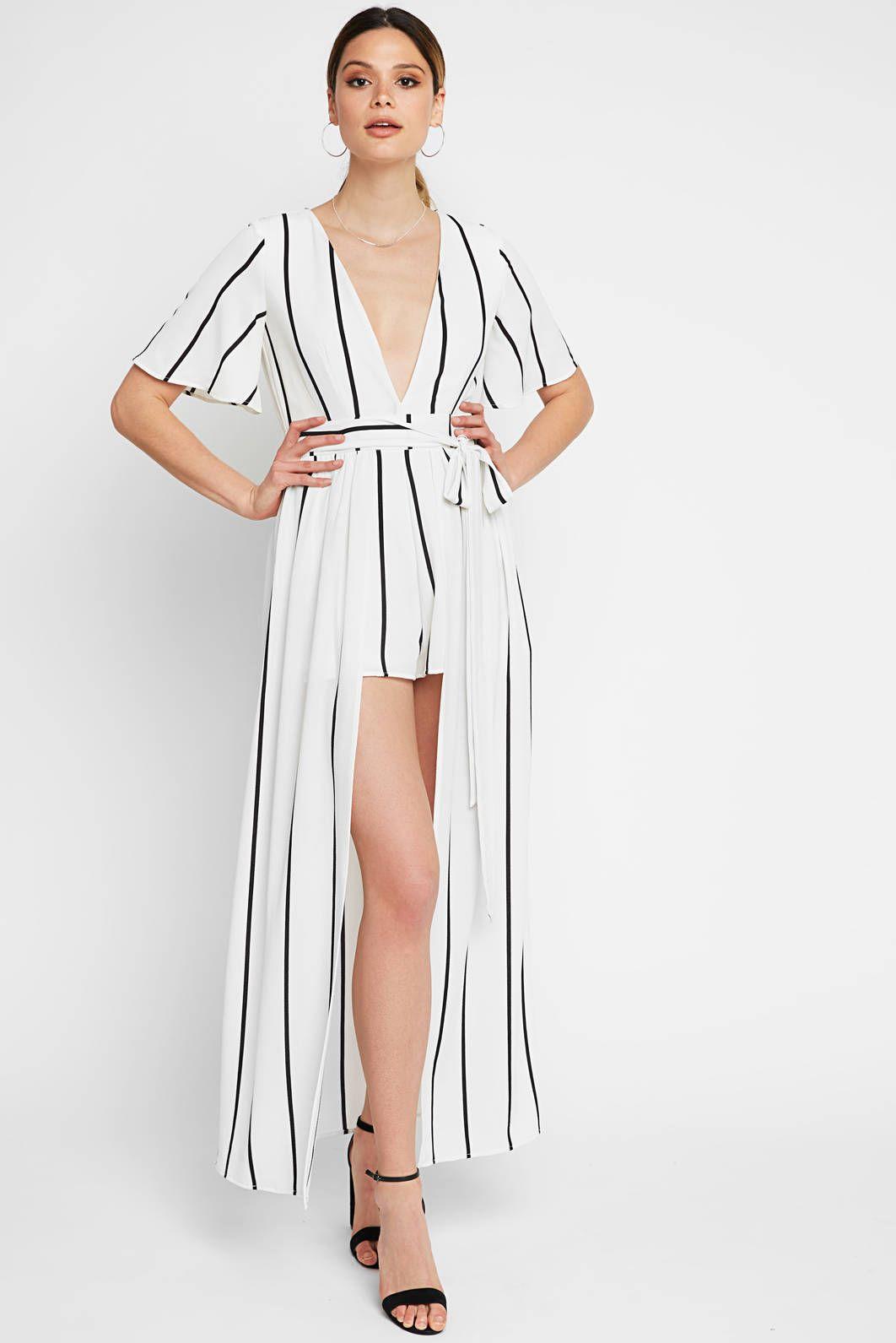 4eddd0aae7d Socialite Striped Romper Maxi Dress in WHTM