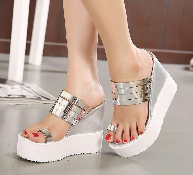 c89d7a5de Stylish Womens Shiny High Wedge Heel Platform Flip Flop Mules Creeper  Sandals