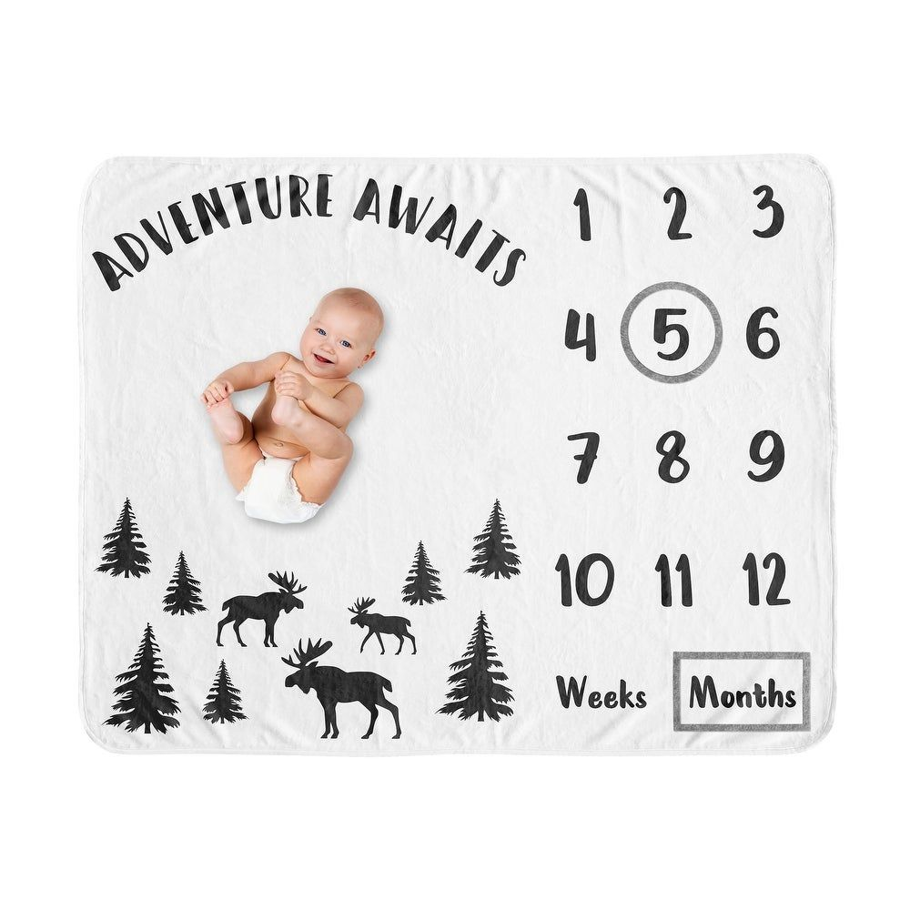 Month Baby Blanket Newborn Baby Boy Blanket Adventure Awaits Baby Milestone Blanket Personalized Baby Blanket Baby Shower Gift