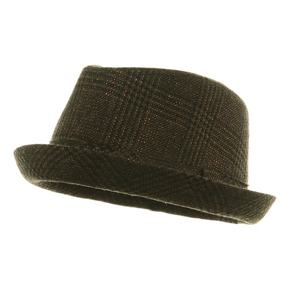 Upturn Plaid Fedora Hat - Brown  fc9059d9cb0