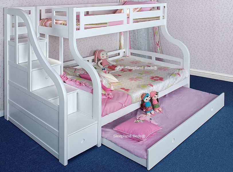 Luxury Solid Wood White Triple Bunk Bed With Staircase And