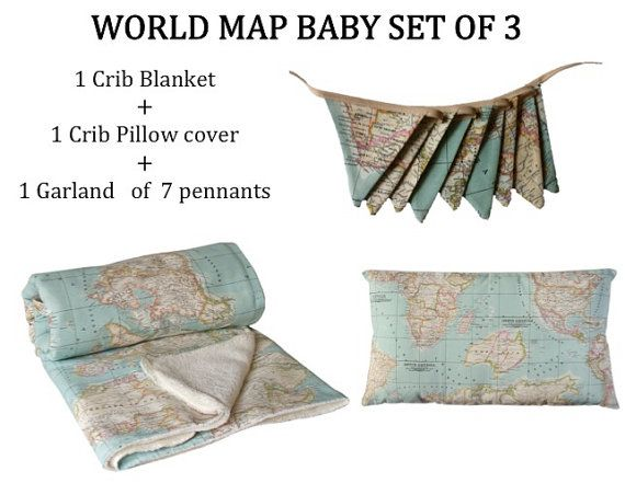 World Map Baby, set of 3: Map Baby blanket, globe baby decor ... on world map silhouette cameo, world map headboard, world map side table, world map coverlet, world map women's clothes, world map bedding set,