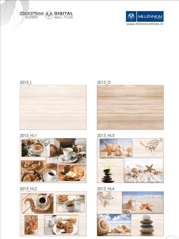 Kitchendesign Tile 2013 Millennium Tiles 250x375mm 10x15 Digital Ceramic Glossy Walltiles 2013 L 2013 Hl1 2013 Hl2 2013 D 2013 Hl3 2013 Tegels