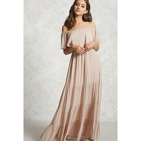 Forever21 Off The Shoulder Maxi Dress 30 Liked On Polyvore Featuring Dresses Taupe Maxi Dresses Sleeve Maxi Summertime Dresses Short Dresses Maxi Dress