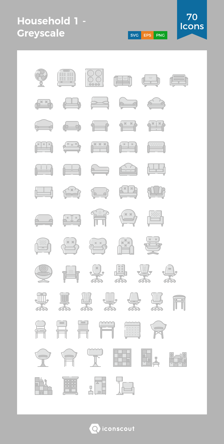 Household 1 Greyscale Icon Pack 70 Filled Outline