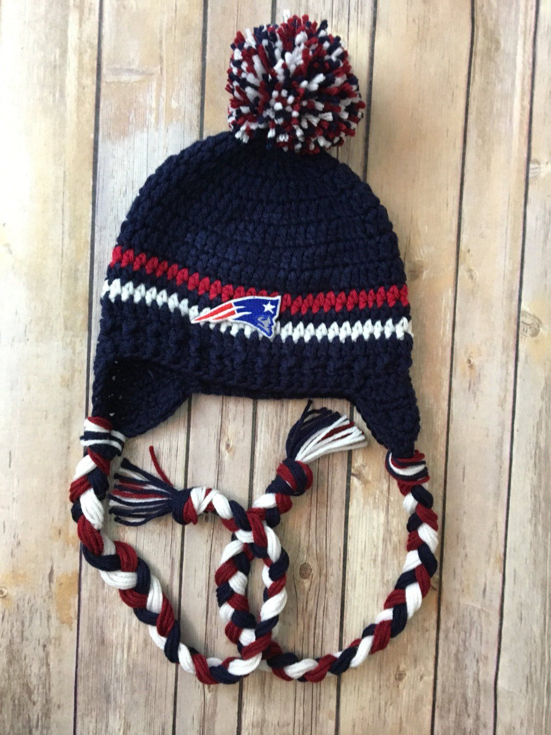 ae585d56 New England patriots hat / Hand crocheted adult or teen New England ...