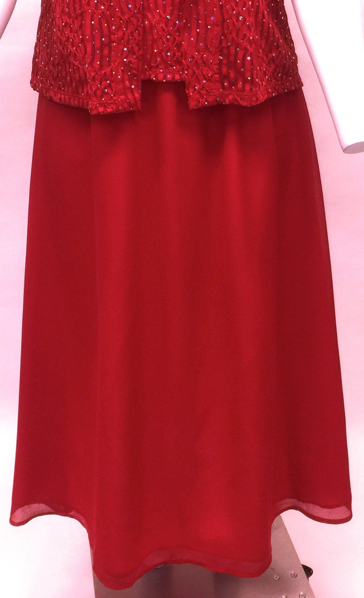Red Georgette Full Length Skirt. Style #A145-Skirt-Rd