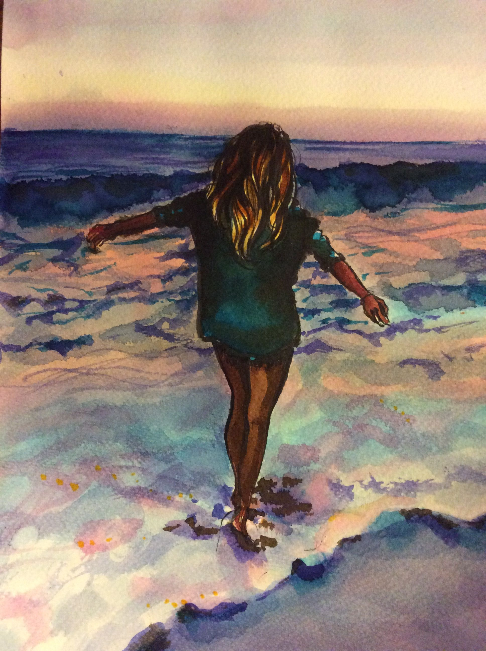 A Marker And Watercolor Drawing Of A Girl Walking By The Beach