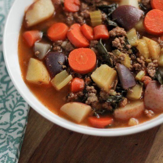 Delicious and hearty Beef and Vegetable Soup - perfect to feed a crowd or make to have throughout the week.