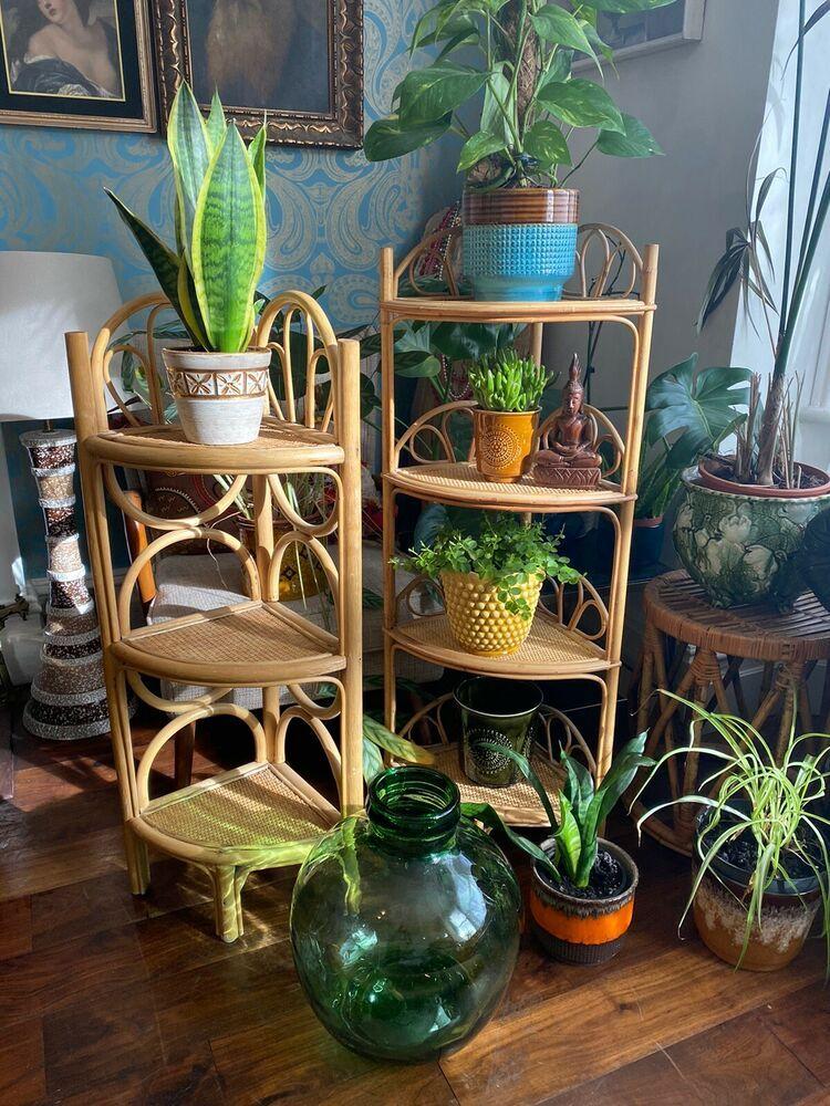 Vintage Boho Bamboo Corner Shelf Plant Stand Shelving Unit Boho Tiki 3 Tier Unbranded Vintageretro In 2020 Plant Stand Decor Plant Stand Tiki Room