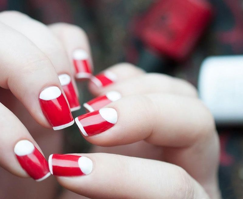 Two-colors Nail Design | Color nails, Moon nails and Toenail art designs