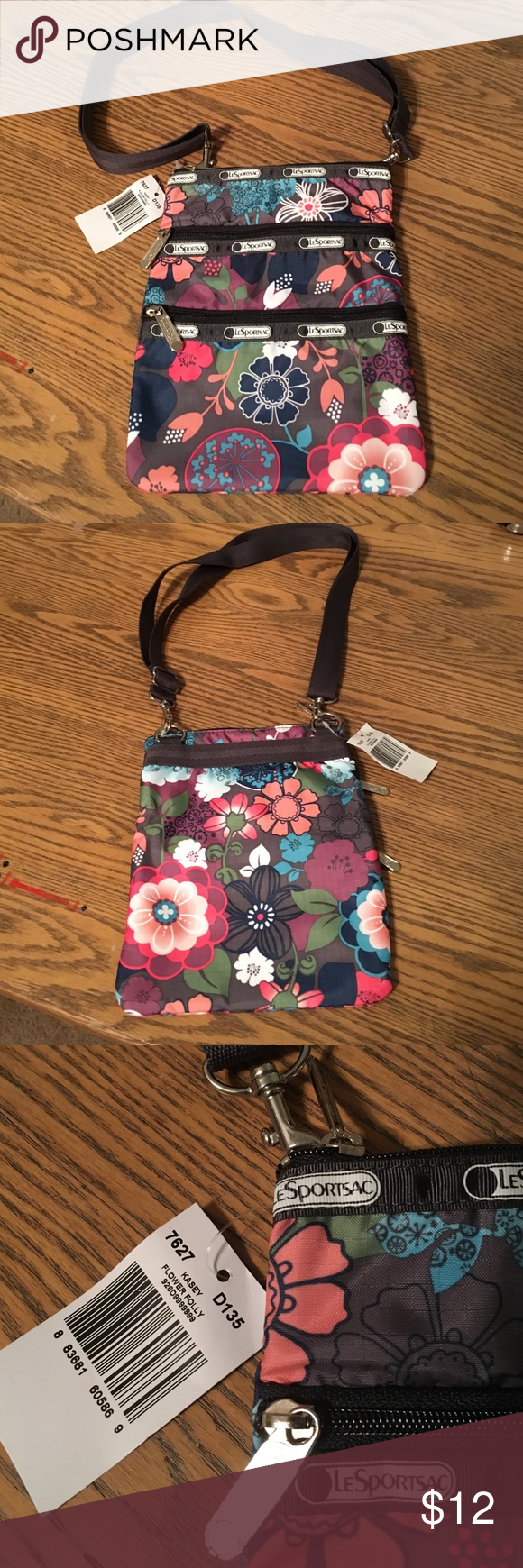 """LeSportsac Kasey Crossbody bag NWT LeSportsac Kasey Crossbody bag. Flower Folly print, 1 main zipper compartment and 2 outside zipper pockets, removable adjustable strap. Great for the essentials! 9.5H x 7.5W x 1/2""""D LeSportsac Bags Crossbody Bags"""