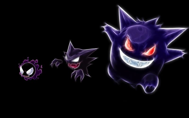 pokemon gengar haunter gastly black background 1920x1200 wallpaper