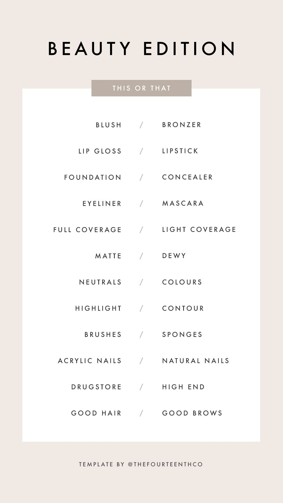 Instagram Story Template Questions This Or That Beauty Edition Template Instagram Bingo