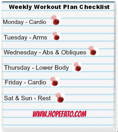 Simple Weekly workout Plan Checklist! wwwHopeFato woosh - weekly workout plan