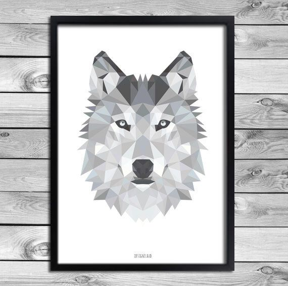 druckbare a4 kunst plakat druck schwarz wei grau wolf illustration geometrische tiere cool. Black Bedroom Furniture Sets. Home Design Ideas