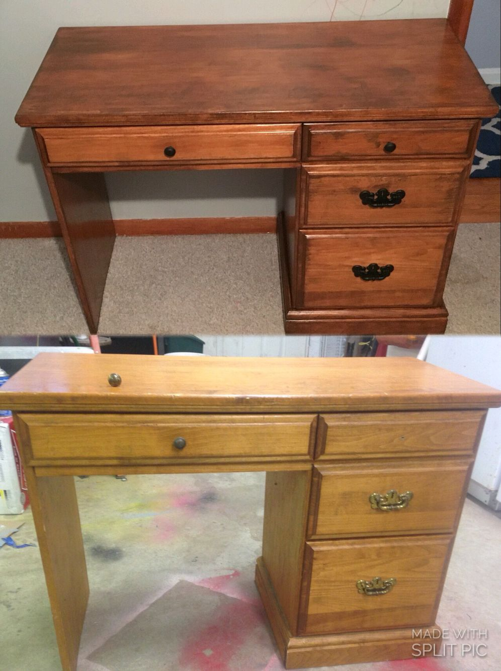 My desk from when I was a kid (before and after) a redo for cooper.