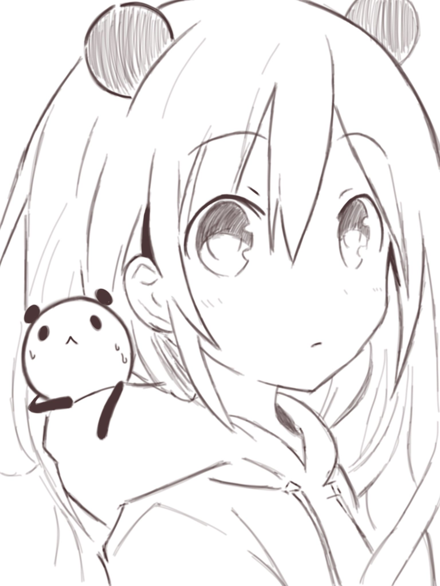 Anime. Anime Girl. Short White Hair. Panda. Kawaii