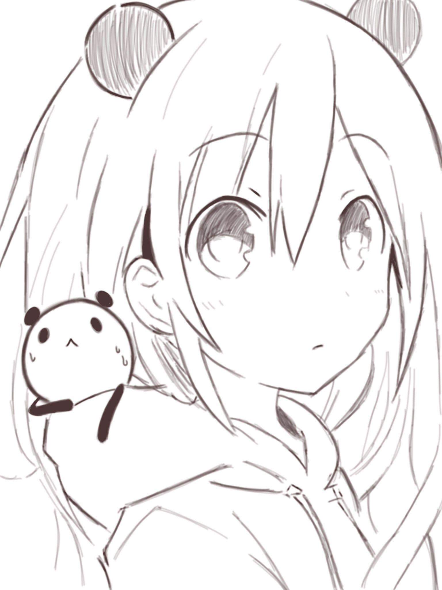 Anime. Anime Girl. Short White Hair. Panda. Kawaii