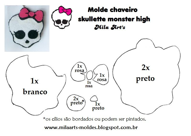 Mila Arts - moldes e PAP: Molde - Skullette Monster High em feltro ...