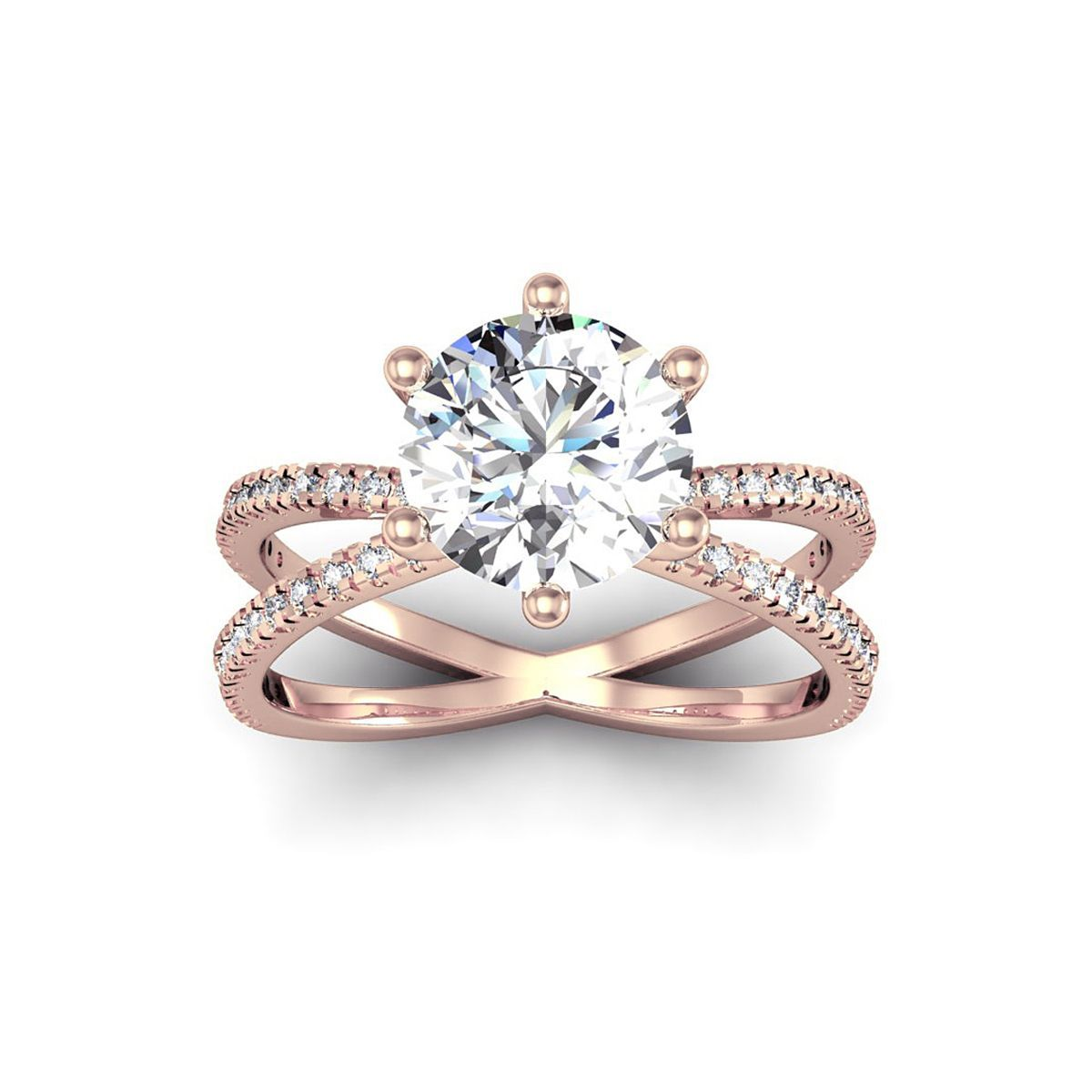 Modern X Band 2 25 Carat Solitaire Engagement Ring With 48 Side Diamonds In 14k Rose Gold