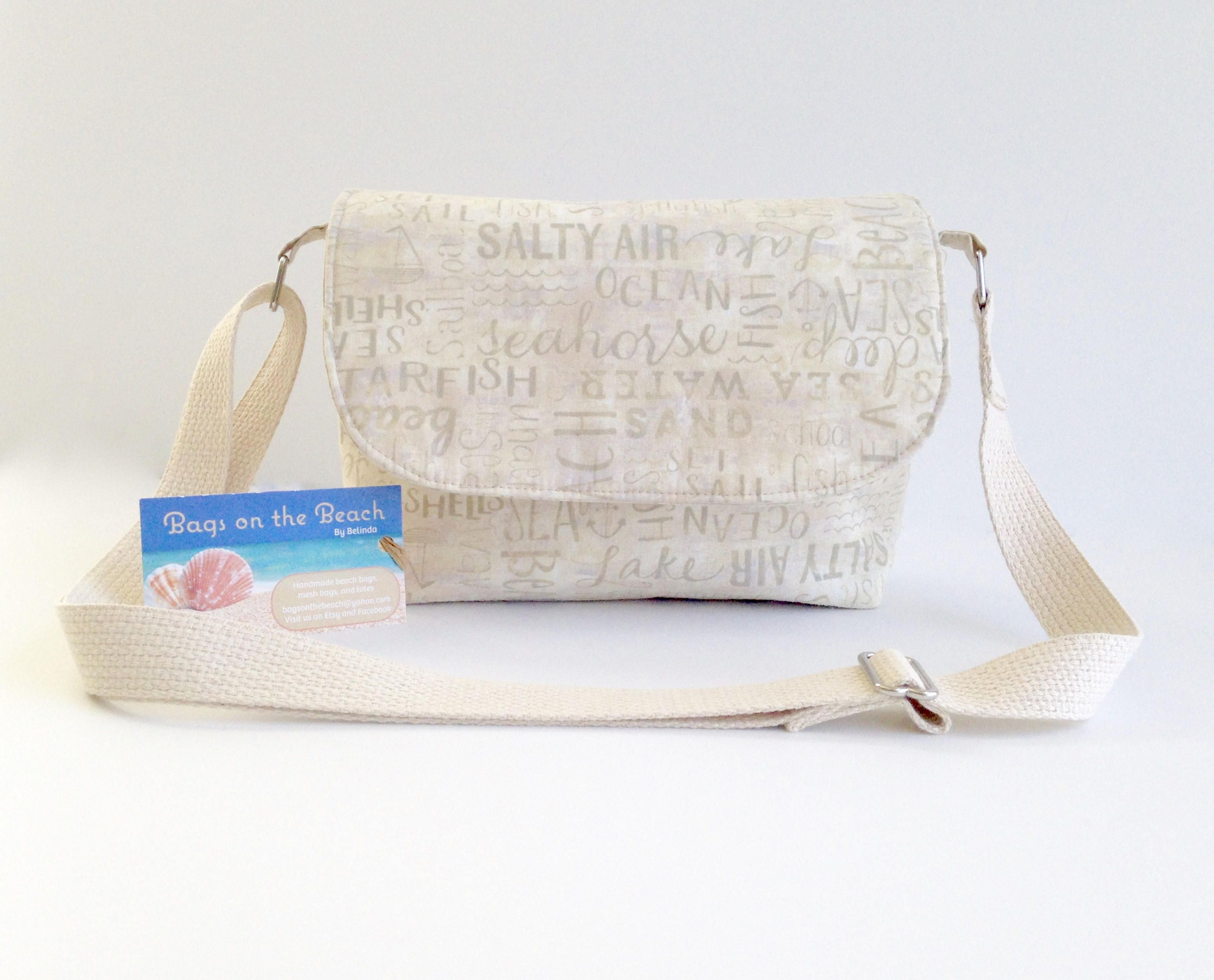 Cross Body Bag Small Beach Handbag With Words Seaside