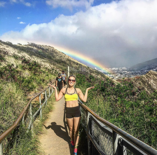 5529fae6e0 Rainbow at the top of Diamond Head, Hawaii. // Samantha Alexandra // Teaser  Mesh Sports Bra and High Rise Booty Shorts publicmyth.com