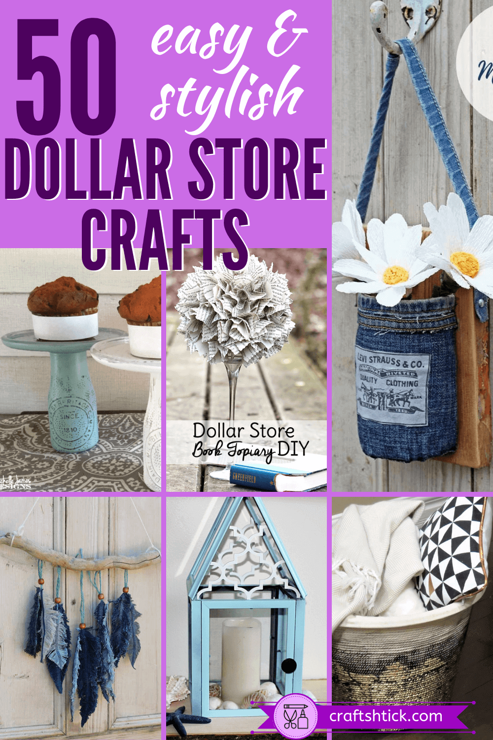 Here are 50 easy and beautiful Dollar Tree crafts and DIY dollar store projects for you to create. Make them for yourself or to give as gifts.