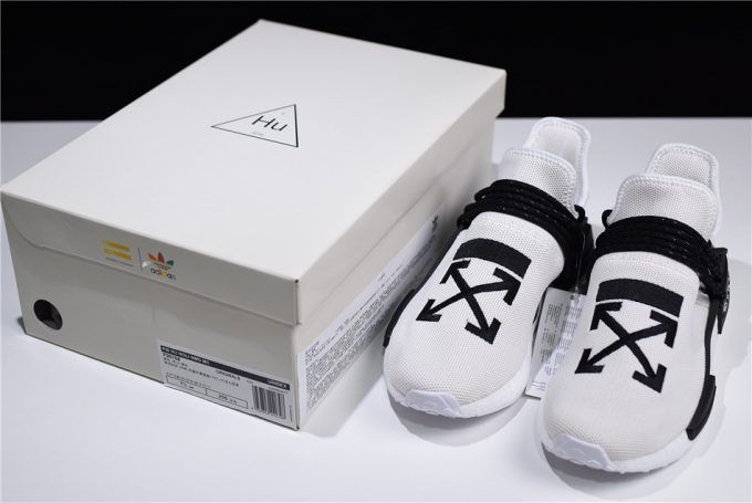 bf6bb30f170ec7 2018 OFF-WHITE x Pharrell x adidas NMD Hu Race Trail Black White For Sale