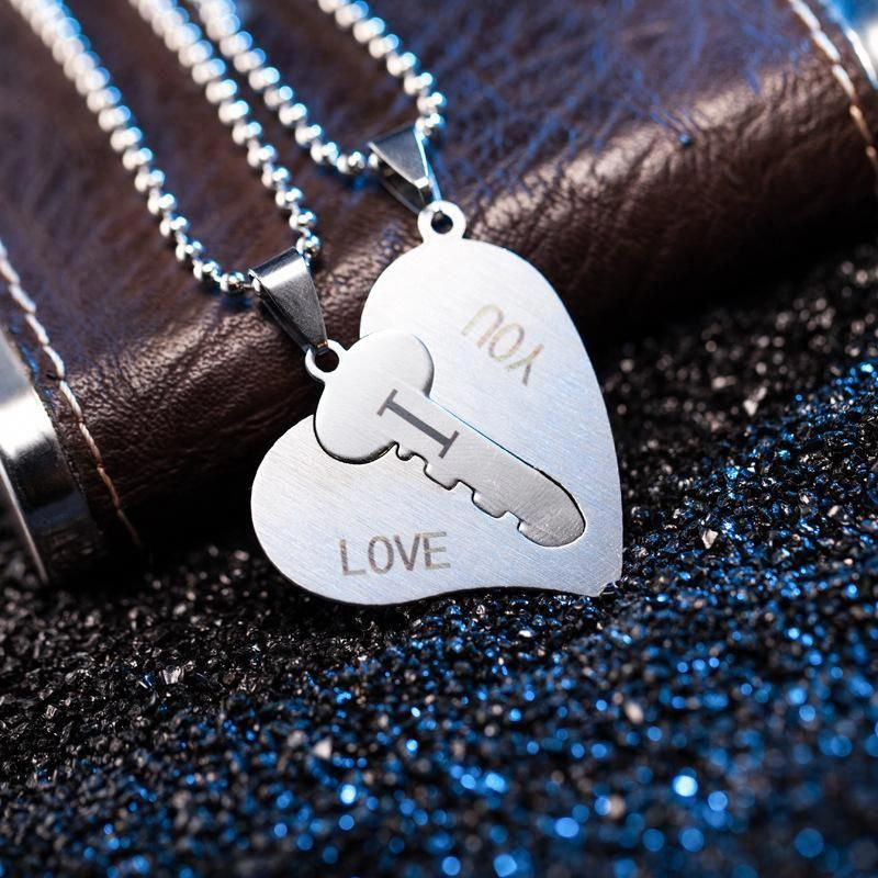 a5d73810b5 Heart and Key Necklaces Couple Unlock My Heart Necklace Stainless Stee –  Gift for Crush #
