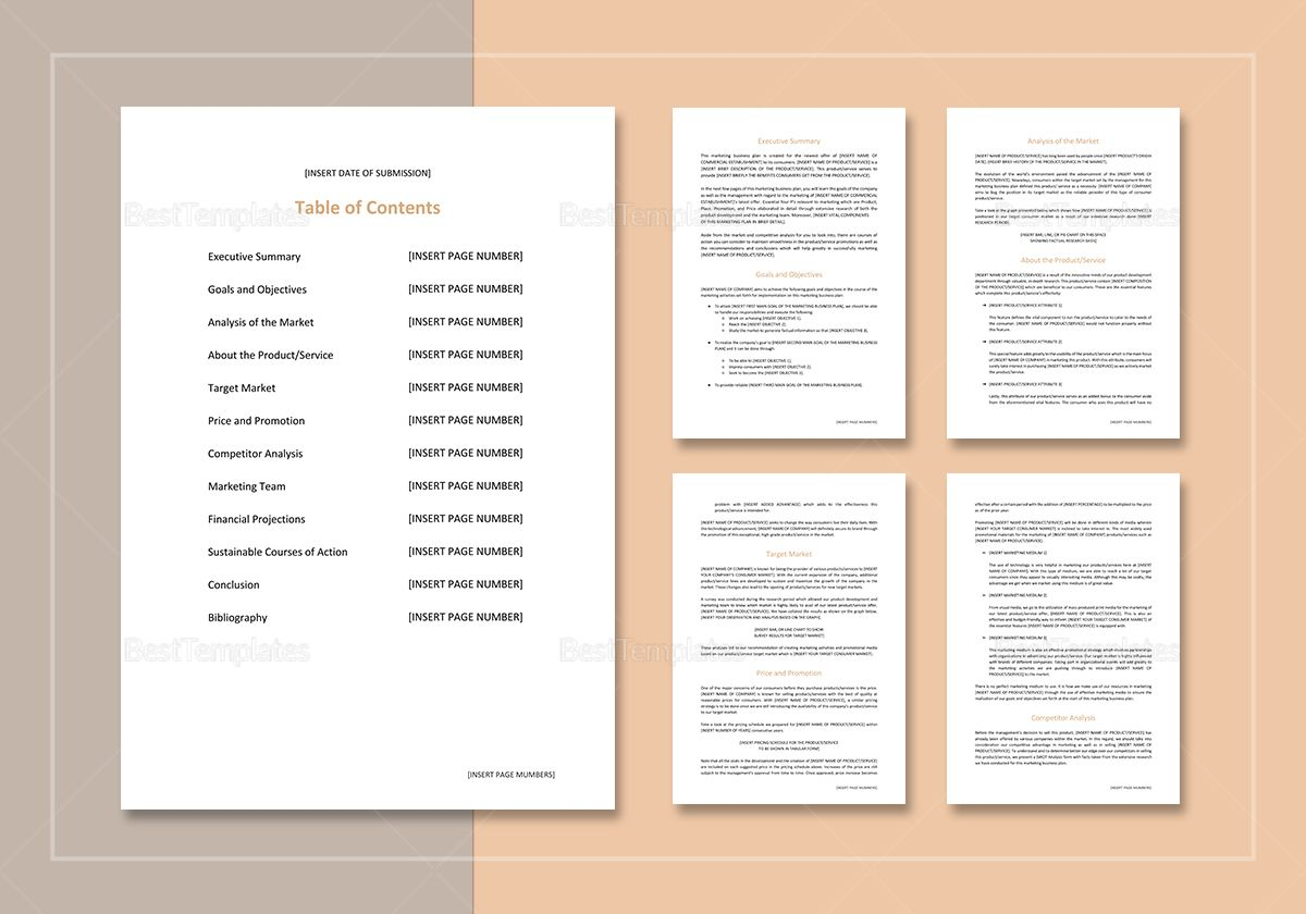 Sample Marketing Business Plan Template Business plan