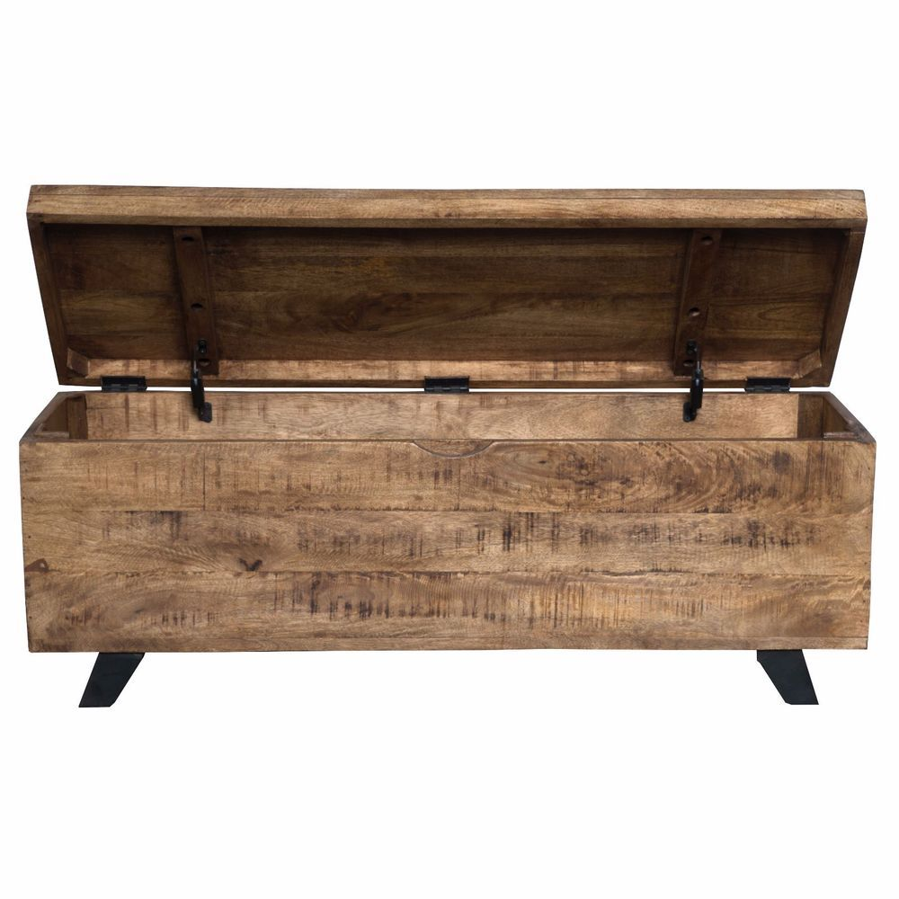 Rustic hallway furniture  Brown Wood Rustic Urban Modern Storage Accent Bench Chest Assembled