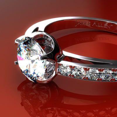 Platinum Flat-Tab Pave Set Diamond Engagement Ring