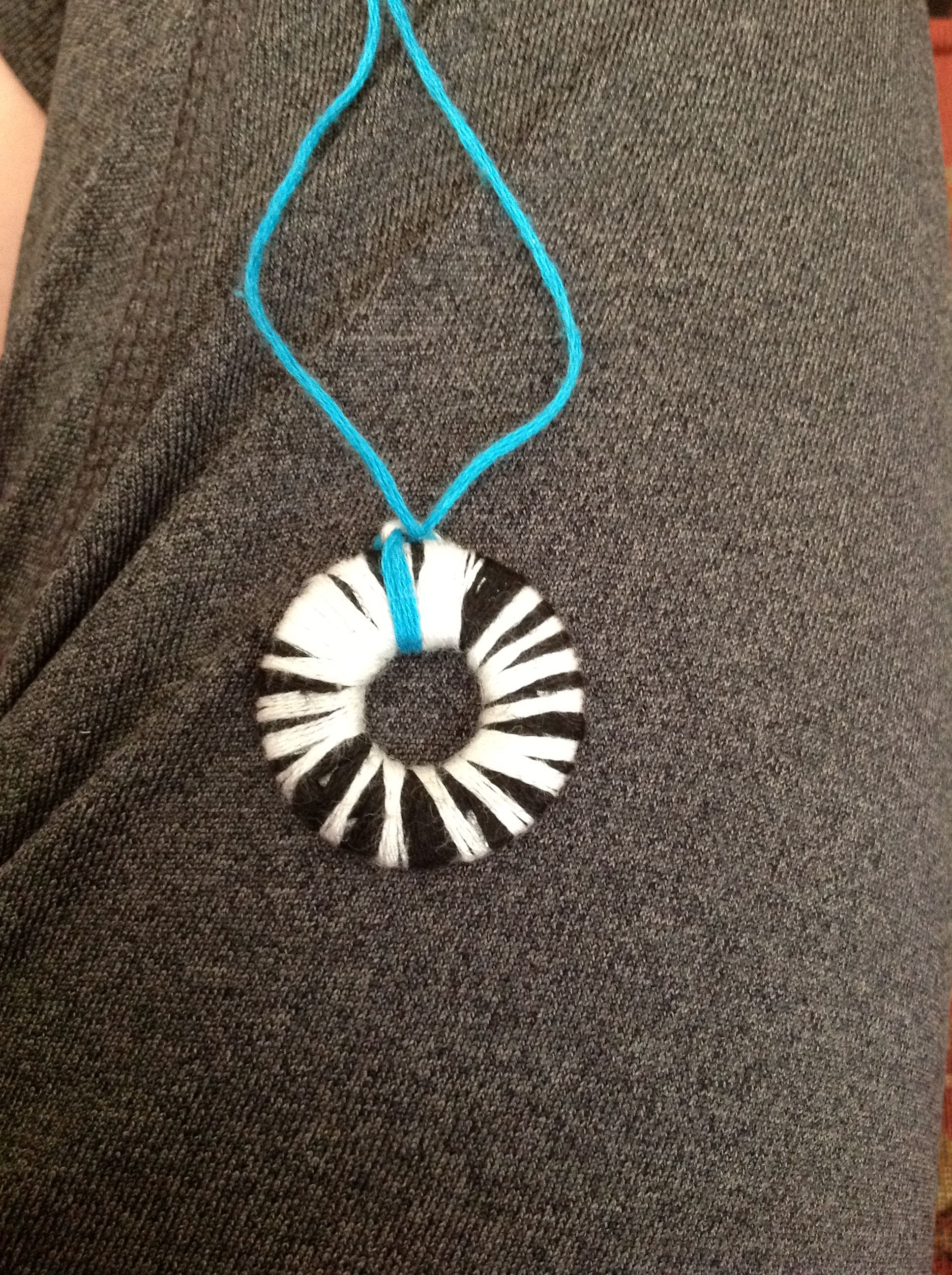 Me and my friend made these necklaces out of washers and thread! Super easy!