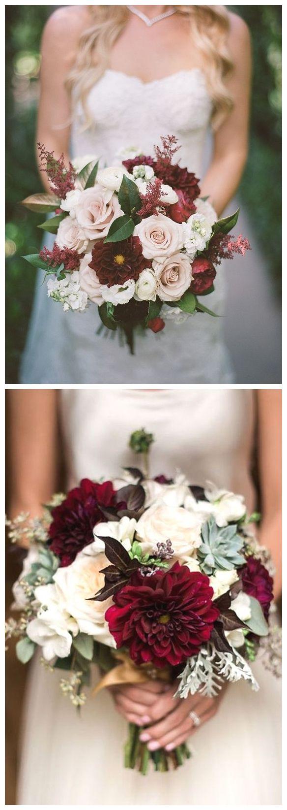 40 Burgundy Wedding Bouquets for Fall / Winter Wedding