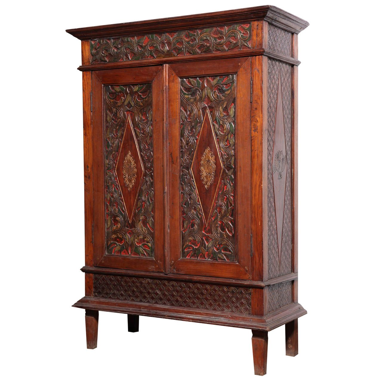 Inexpensive Antique Furniture: Antique Javanese Teakwood Cabinet With Detailed Carvings